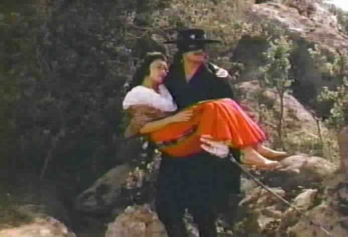 Zorro has no choice but to take refuge in his secret cave with Victoria.