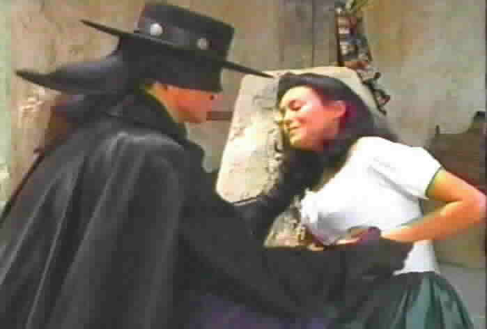 Victoria is shot while protecting Zorro from a bullet intended for him.