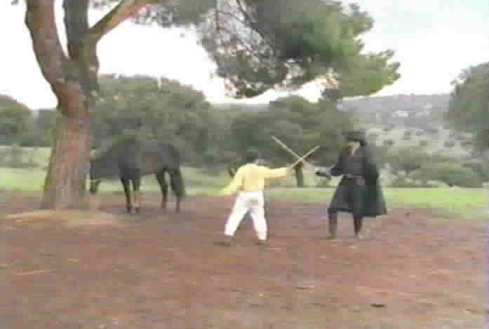 The boy Miguel prepares to fight Zorro for the possession of Toronado.