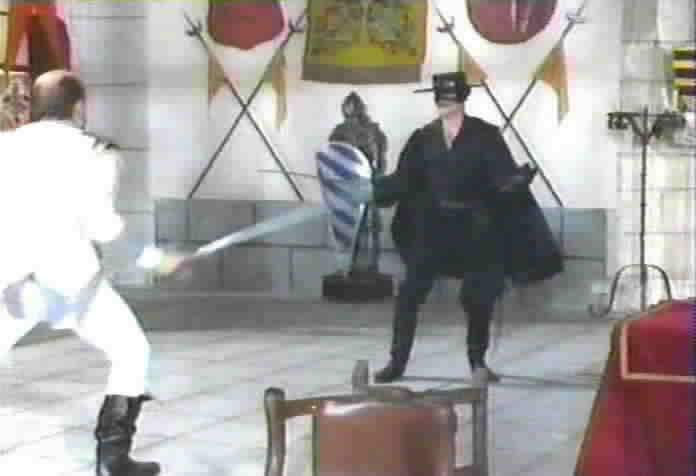 Zorro fights the commandante of Devil's Fortress.