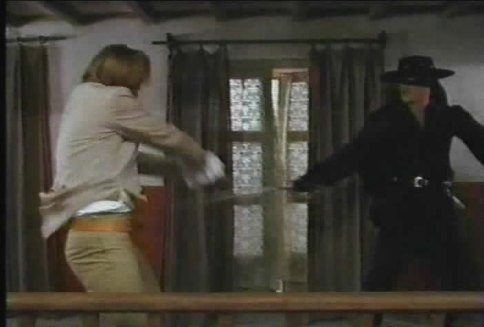 Zorro allows Fucard to disarm him.
