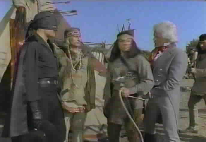 Zorro tries to convince Angry Eyes and Wise Eagle not to kill De Soto.
