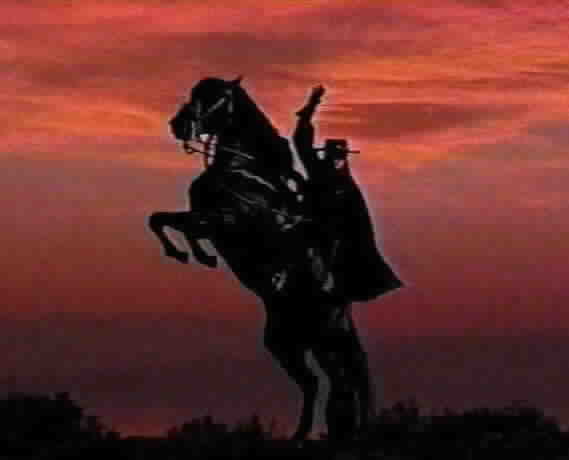 Zorro on rearing horse