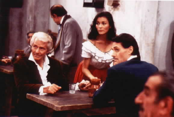 Don Alejandro, Victoria, and Diego in the tavern