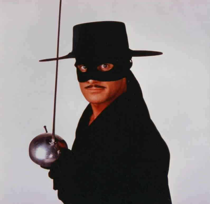 Duncan Regehr as Zorro posing with sword